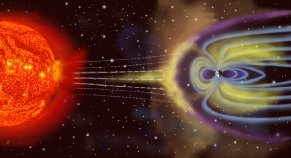 Magnetosphere rendition (Credit: Wikimedia Commons user NASA  http://sec.gsfc.nasa.gov/popscise.jpg)
