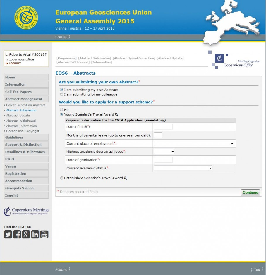 The abstract submission page (click for larger). If you wish to apply for financial support, please select the relevant support box.
