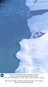 The Larsen ice shelf in Antarctica, viewed from NASA's DC-8 aircraft. Photograph by Jim Ross for NASA, distributed under a  CC-BY 2.0 license.