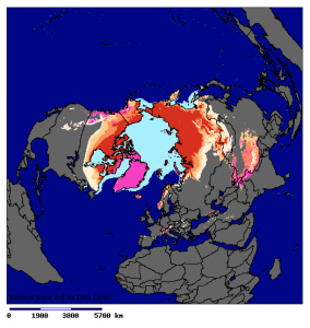 Location of Northern Hemisphere permafrost. Glaciers and ice sheets are in violet and sea ice in light blue. Source - NSIDC, Wikimedia Commons.
