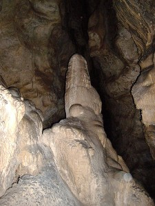 A stalagmite in the Witches' Cave, Argentina. Credit - Pablo Flores, Wikimedia Commons.