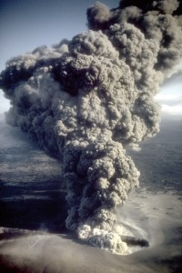 Eruption column rising from the east Ukinrek Maar crater in Alaska - Credit: R. Russell/USGS, Wikimedia Commons.