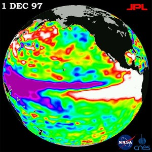 The 1997 El Nino seen by TOPEX/Poseidon. Source - Wikimedia Commons