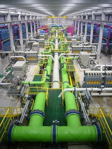 Desalination can be very energy intensive. A view across a reverse osmosis desalination plant. Source - Wikimedia Commons