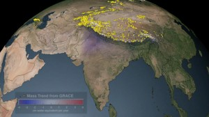 Click on the image to watch an animation showing the average yearly change in mass, in cm of water, during 2003-2010, over the Indian subcontinent. Source - Wikimedia Commons