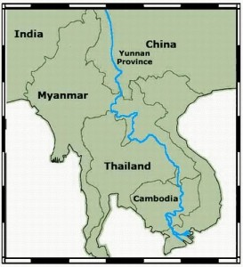 Map of the Mekong River - The long and complicated route of the Mekong river and its intersection with many borders shows the complexity of water management. Source - Wikimedia Commons