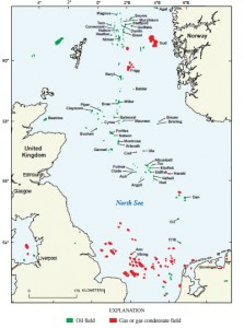 North Sea oil and gas fields distribution. Source - Wikimedia Commons.