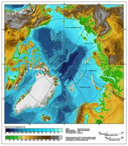 Bathymetric map of the Arctic Ocean. Image Credit - NOAA, Wikimedia Commons.