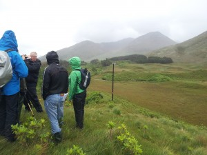 Professor Richard Chiverrell describing a series of eskers in Tullywee, Republic of Ireland, to a group of scientists with mixed interests. Photo: D. Schillereff