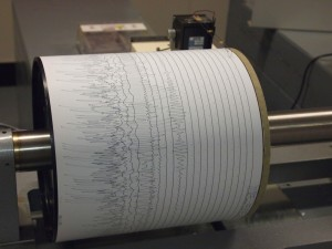 A seismogram being recorded by a seismograph at Weston Observatory in Massachusetts, USA.