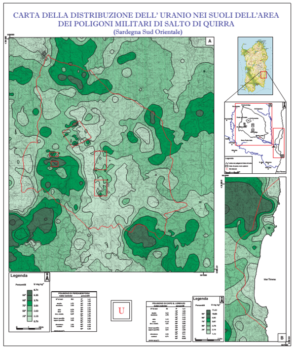 Distribution map of uranium concentrations in top-soils of the two firing ranges of Perdasdefogu and Capo San Lorenzo and nearby areas (from the Siena University report, 2004).