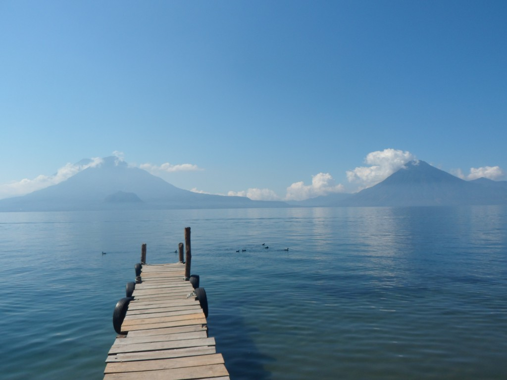 Lake Atitlan, with Volcanoes Toliman (left) and San Pedro (right).