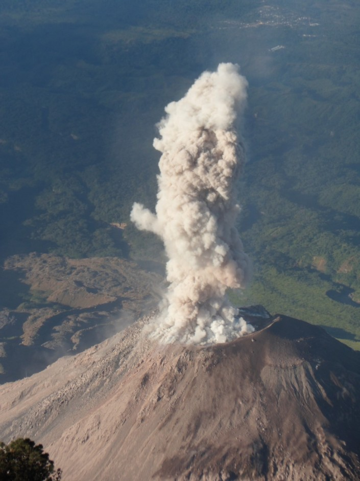 Early morning eruption of Santiaguito, as seen from Santa Maria
