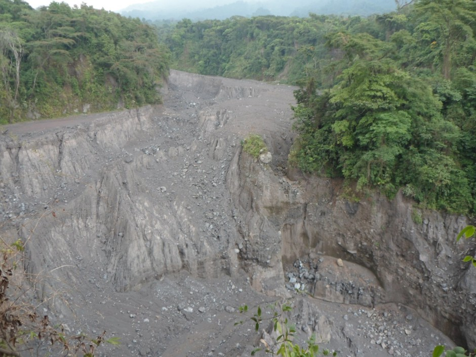 Eroded pyroclastic flow deposits, close to Fuego.