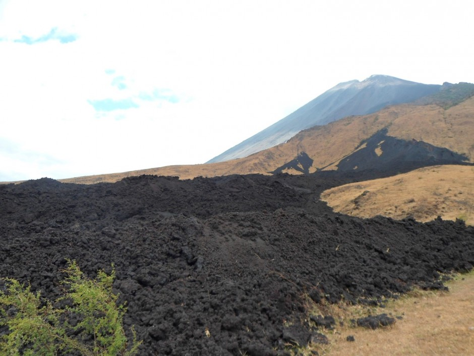Lava flows from the 2010 eruption of Pacaya (which can also be seen in the background)