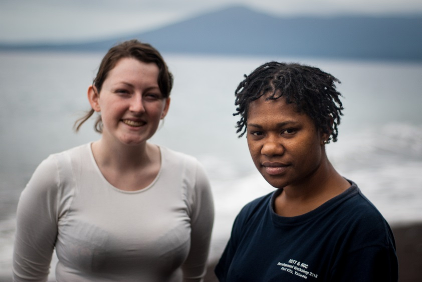Eleri with Sandrine, the Observatory's volcano data analyst.