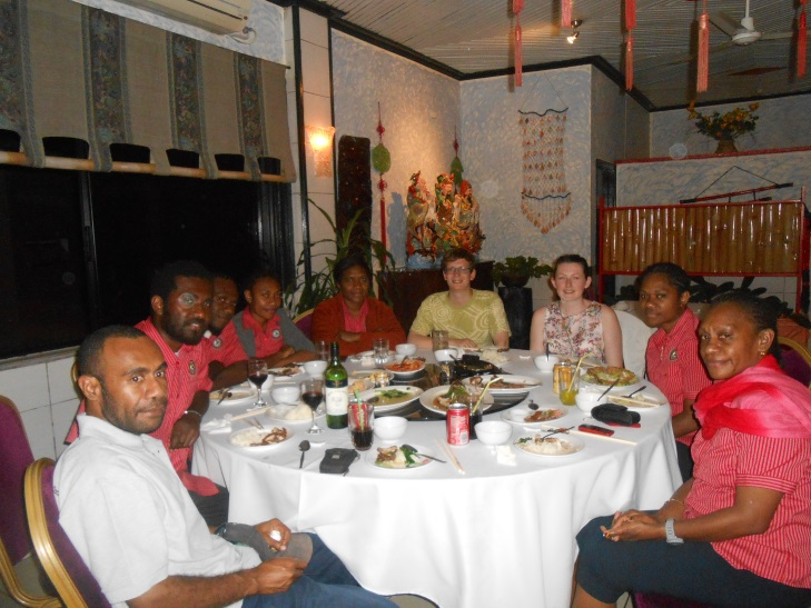 Having a meal on the final night with the Geohazards unit from the Vanuatu Geohazards Observatory.