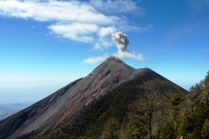 Fuego (Guatemala) is a currently active volcano, with risks to local populations and their livelihoods.