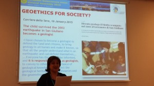 Silvia Peppoloni (IAPG) introduces the Geoethics session at EGU 2015