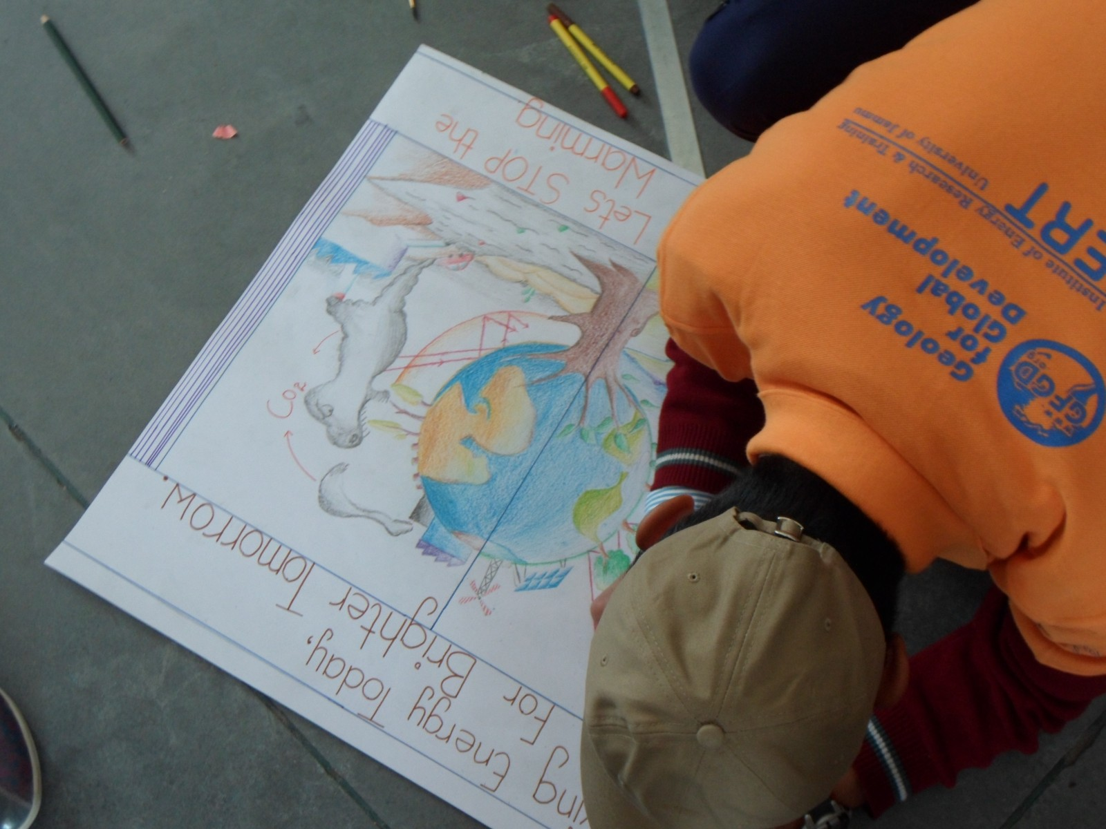 School children in Ladakh (India) drawing on the theme of environmental change.