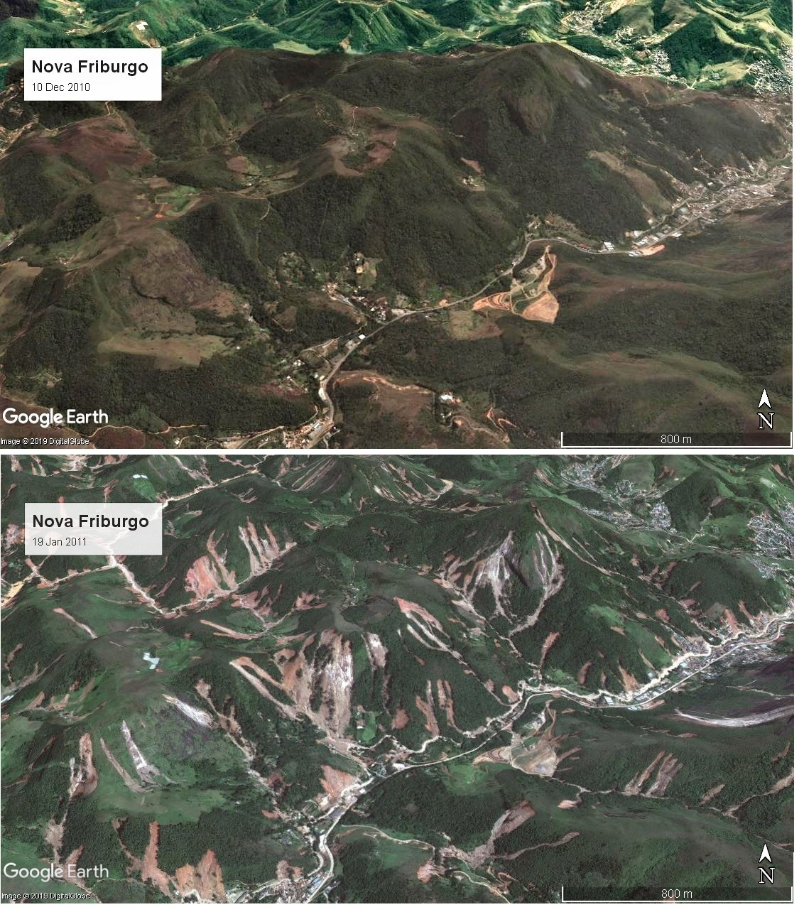 Satellite imagery of the 2011 mudslides in Nova Friburgo - before and after. Via Google Earth, collected in 2019.