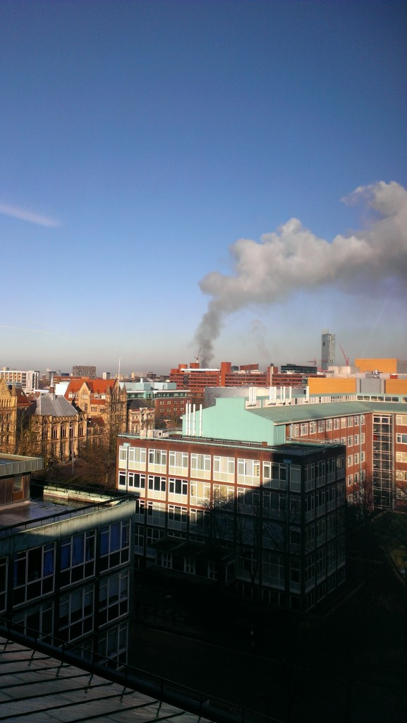 Photo of the Salford fire taken at 8:45am on the 3rd March 2014. Source: Will Morgan