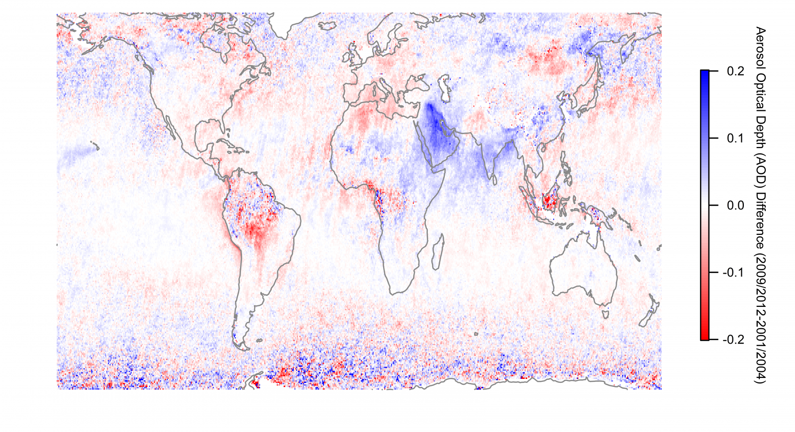 Difference in Aerosol Optical Depth (AOD) from 2009-2012 to 2001-2004. Data source is the same as above. Blue colours indicate an increase in aerosol, while red colours show a decrease.