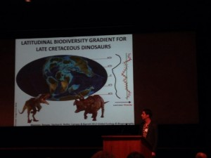 Phil Mannion showing off his research on Mesozoic latitudinal diversity patterns. Credit: moi