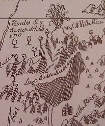 Volcan Villarica, map view from 1759