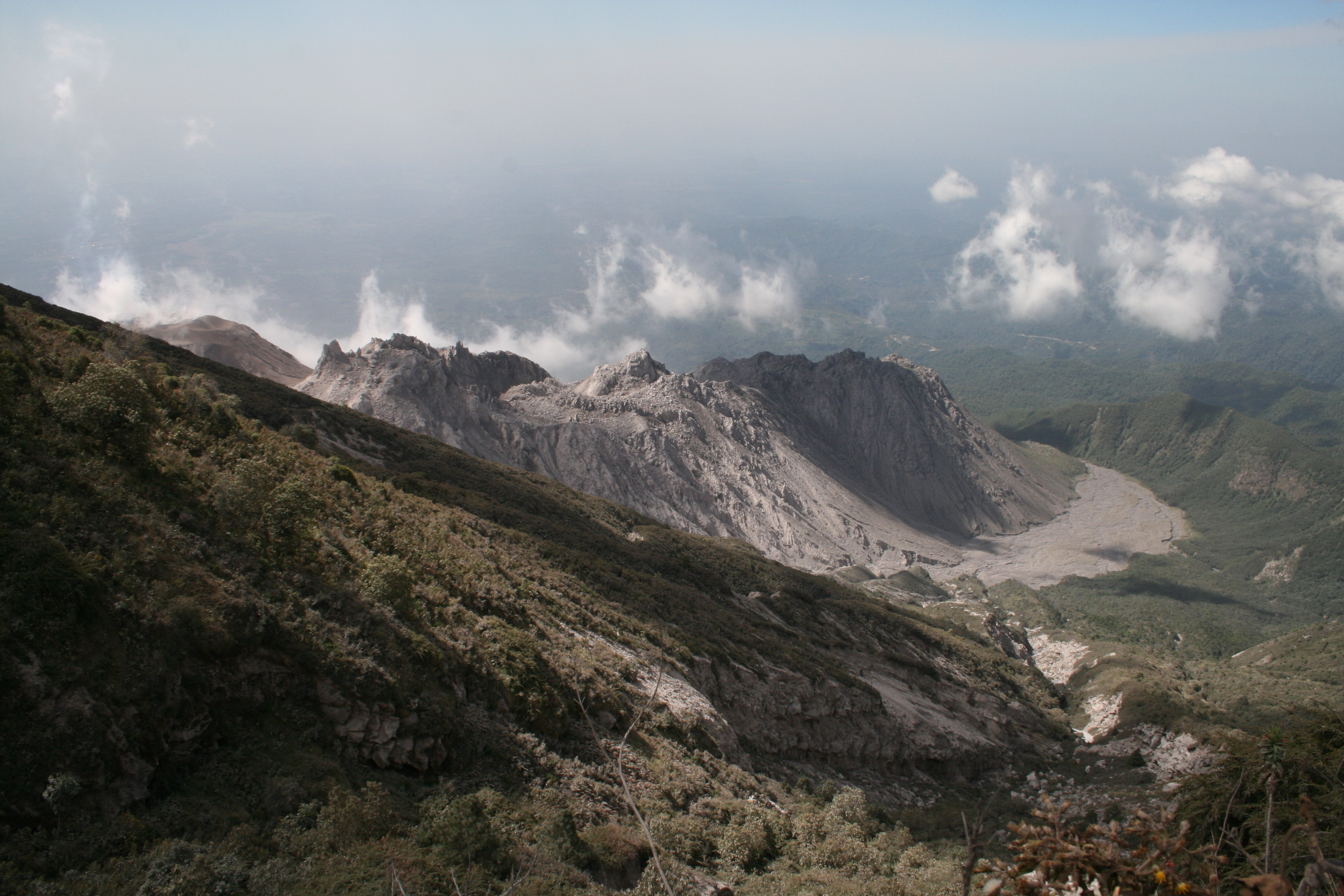View of the lava domes of Santiaguito volcano, from the flanks of Santa Maria, Guatemala