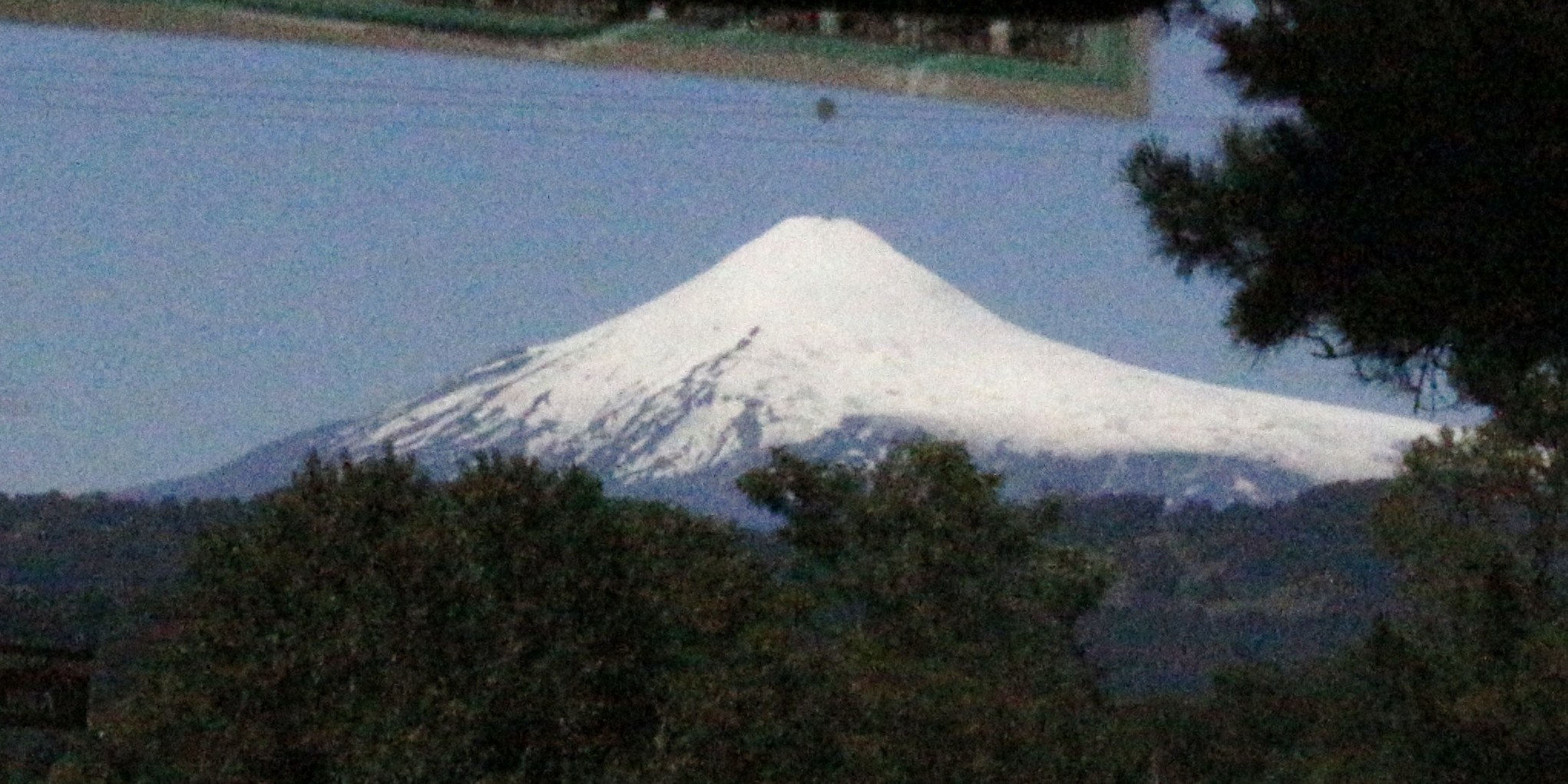 Villarica, through the window glass