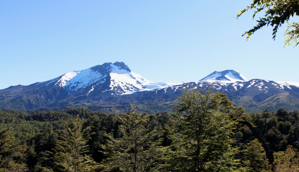 Volcan Mocho Choshuenco, Chile. Choshuenco, to the left, is probably no longer active. Mocho, to the right, last erupted in 1864.