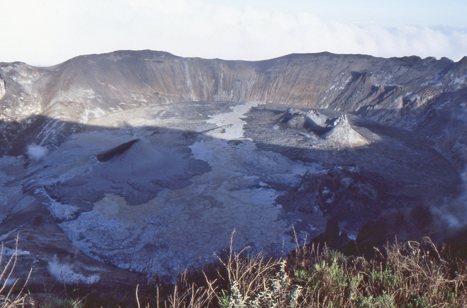 Early morning shadow across the active crater of Oldoinyo Lengai, November 1988.
