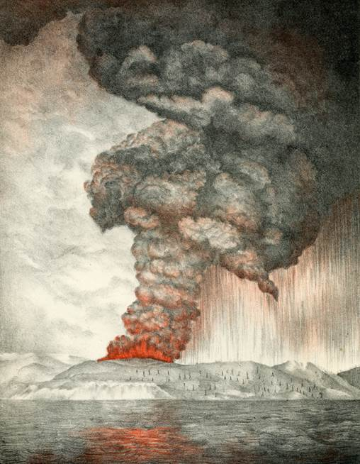 Precursory eruption of Krakatoa in May 1883. From Symonds (1888).