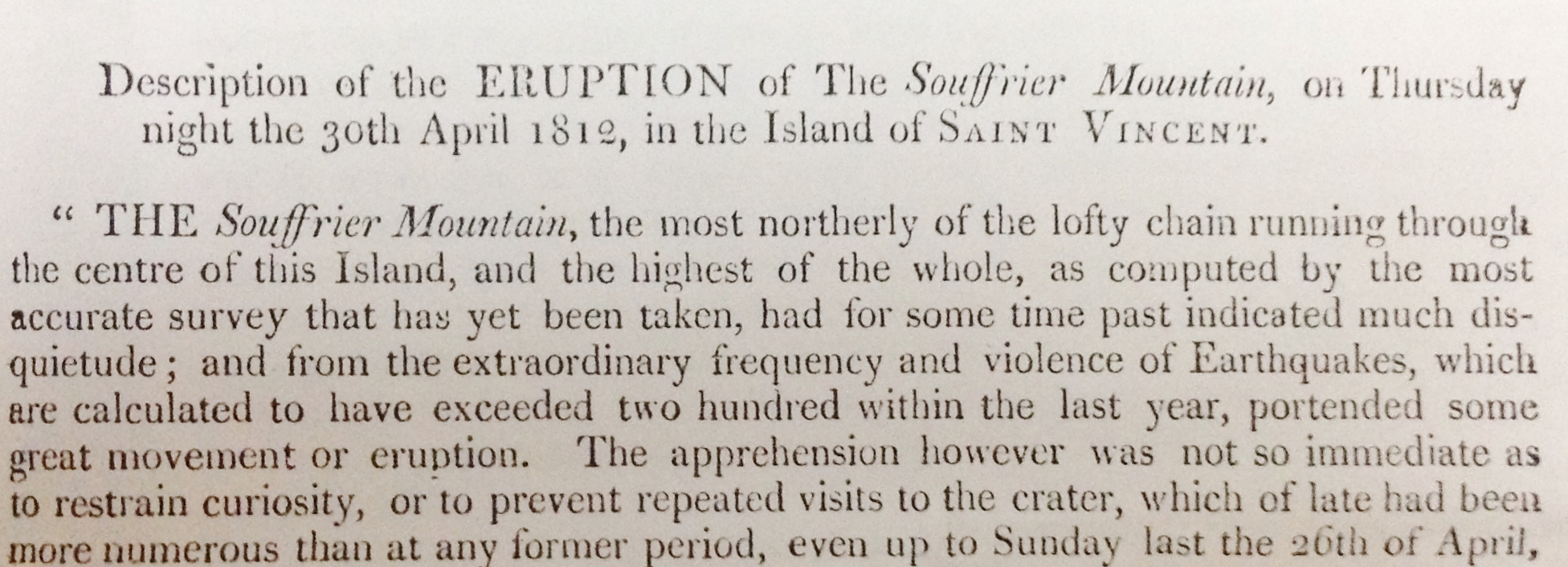 account of 1812 eruption