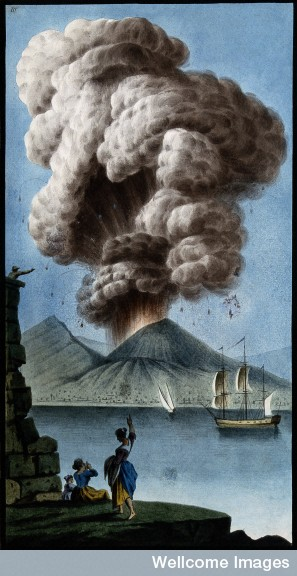 Wellcome Library, London  Mount Vesuvius emitting a column of smoke after its eruption on 8 August 1779. Coloured etching by Pietro Fabris, 1779.
