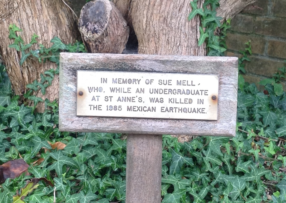 Simple memorial to Sue Mell, undergraduate at St Anne's College, Oxford.