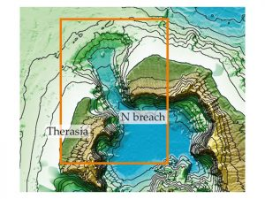 Image of the northern 'breach' in the Santorini caldera, and the scour and channel that cut through it.